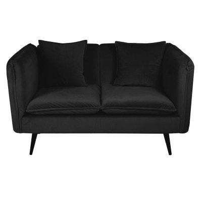 Canapé 2 places en velours noir + coussins L138cm MALMOE PIER IMPORT