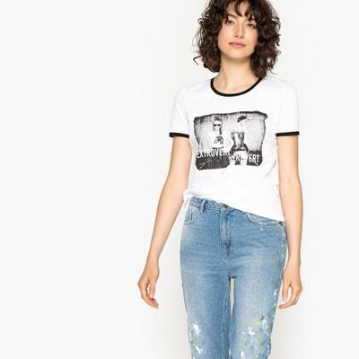 Camiseta con cuello redondo, manga corta, motivo delante Camiseta con cuello redondo, manga corta, motivo delante La Redoute Collections