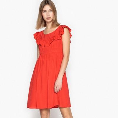 Kurzes Kleid, unifarben, ausgestellt mit Volants SEE U SOON
