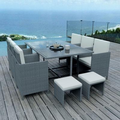 10 places ensemble encastrable salon table de jardin rsine tresse gris ecru