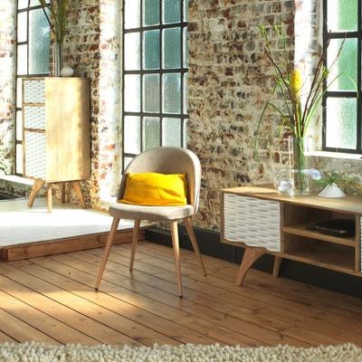 Chaise scandinave en velours beige, pieds compas  |  MIA6 - En Soldes MADE IN MEUBLES
