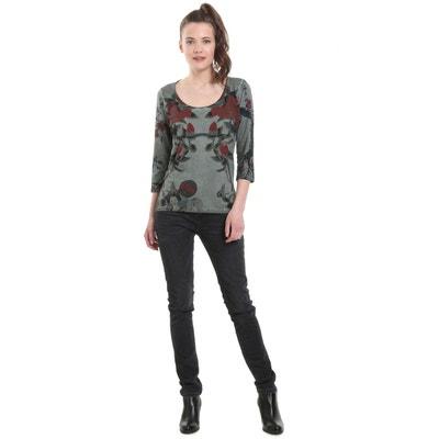 Tee shirt  col rond manches 3/4 imprimé floral DESIGUAL