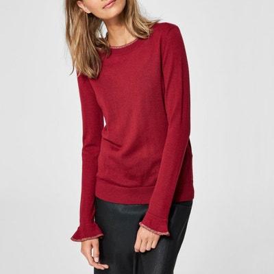 Pull scollo rotondo a quadri maglia 49% lana Pull scollo rotondo a quadri maglia 49% lana SELECTED FEMME