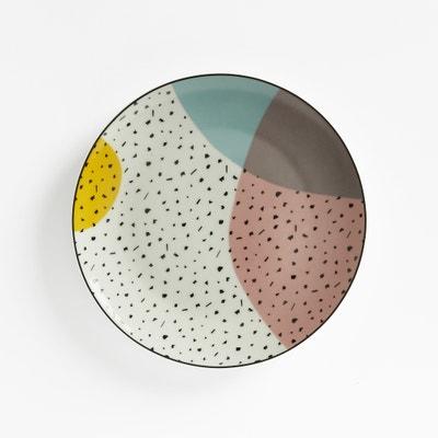 Renkli Set of 4 Hand-painted Graphic Print Dessert Plates La Redoute Interieurs
