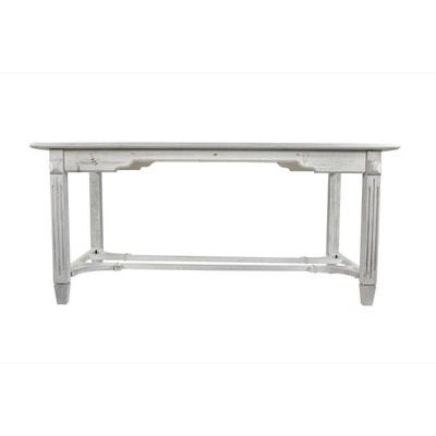 Décoration d'Autrefois - Table Bois Cerusé Blanc 180x90.5x81.5cm Décoration d'Autrefois - Table Bois Cerusé Blanc 180x90.5x81.5cm DECORATION D'AUTREFOIS