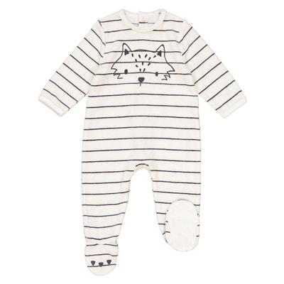Pyjama 1 pièce en velours imprimé loup, 0-3 ans Pyjama 1 pièce en velours imprimé loup, 0-3 ans LA REDOUTE COLLECTIONS