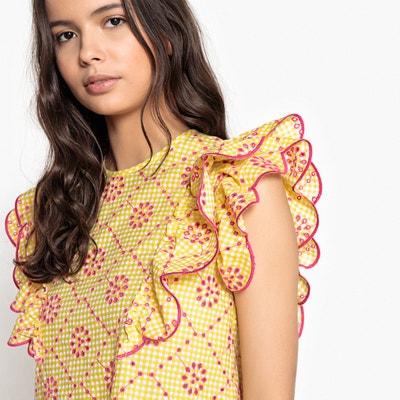 Blusa de gola redonda, com folhos e bordados, sem mangas Blusa de gola redonda, com folhos e bordados, sem mangas MADEMOISELLE R