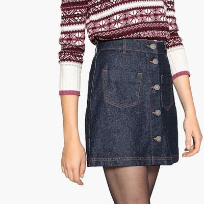 Jupe en jean, droite, 2 poches plaquées Jupe en jean, droite, 2 806cdb911e7e
