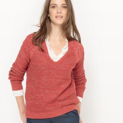 Sweter błyszczący, dekolt w serek, bawełna La Redoute Collections