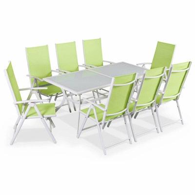 Salon De Jardin En Aluminium Table 8 Places Blanc Textilne Fauteuil Vert Pomme