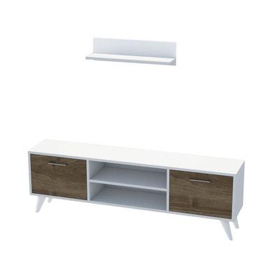 Meuble TV avec étagère Horus - 120 x 48 cm - Blanc et noix MINAR
