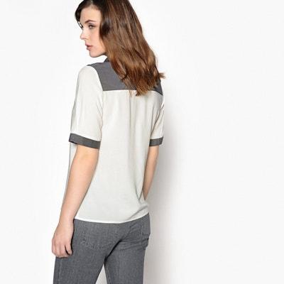 Bicolor hemd met hemdskraag en 3/4 mouwen ANNE WEYBURN