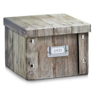 Boîte à DVD déco en carton zeller wood ZELLER PRESENT