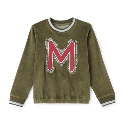 Sweater in fluweel met motief ''M'' 3-12 jr La Redoute Collections