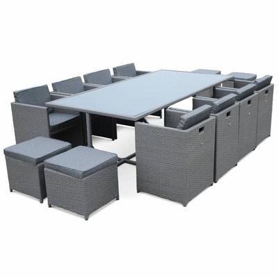 salon de jardin vasto gris table en rsine tresse 8 12 places fauteuils encastrables - Ensemble Table De Jardin Et Chaises