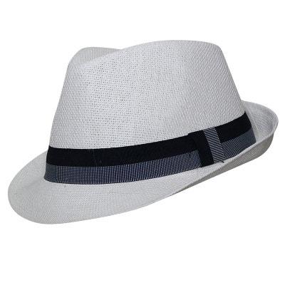 Chapeau trilby blanc bandeau rayé CHAPEAU-TENDANCE