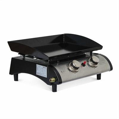 Plancha au gaz Porthos 2 brûleurs 5 kW barbecue cuisine extérieure plaque émaillée inox ALICE S GARDEN
