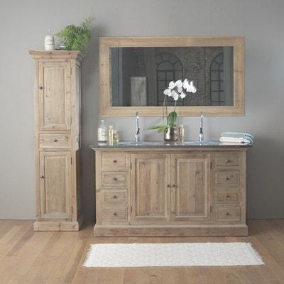 meuble salle de bain bois 2 vasques 2 portes 8 tiroirs lop246 made in meubles - Meuble Salle De Bain Bois 1 Vasque