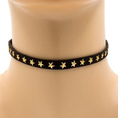 Collier ras de cou noir aux clous en forme d'étoiles dorées Collier ras de cou noir aux clous en forme d'étoiles dorées EXOTIC EXPRESS