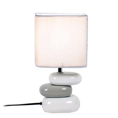Lampe galet AULAN blanche en céramique Lampe galet AULAN blanche en céramique KERIA