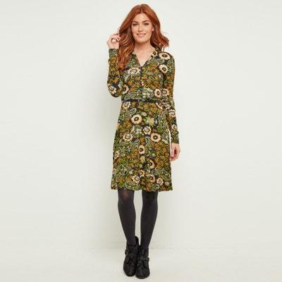 Sukienka dopasowana do talii z dekoltem w kształcie litery V w kwiecisty wzór, długi rękaw Sukienka dopasowana do talii z dekoltem w kształcie litery V w kwiecisty wzór, długi rękaw JOE BROWNS