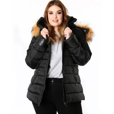Piumino lungo, maniche lunghe, cappuccio effetto pelliccia Piumino lungo, maniche lunghe, cappuccio effetto pelliccia LOVEDROBE