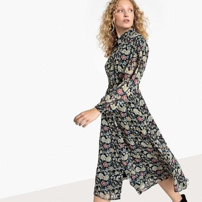 Sukienka do łydki w kwiaty, ze stójką, zwęrzana w talii La Redoute Collections