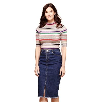 Long Frayed Denim Skirt YUMI