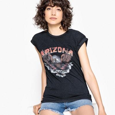 Camiseta con cuello redondo y mangas enrolladas, motivo Arizona Camiseta con cuello redondo y mangas enrolladas, motivo Arizona La Redoute Collections