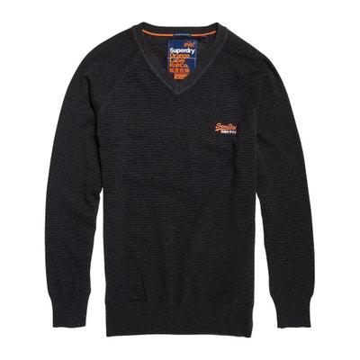 Jersey de algodón con cuello de pico, ORANGE LABEL Jersey de algodón con cuello de pico, ORANGE LABEL SUPERDRY