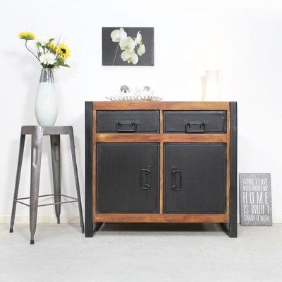 Buffet industriel 2 portes 2 tiroirs métal et bois coloré  |  MOX25 MADE IN MEUBLES