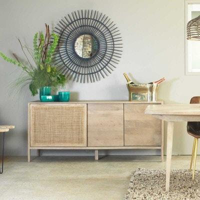 buffet en manguier bois clair et cannage 3 portes hc made in meubles - Enfilade Bois Clair