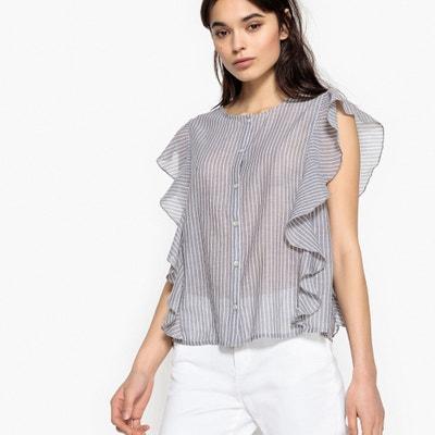 Gestreepte blouse met volants, zonder mouwen La Redoute Collections