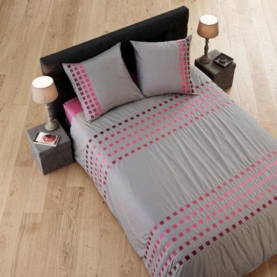 parure de lit coton square blanc et gris parure de lit coton square blanc et gris - Parure De Lit 160x200