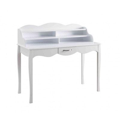 Bureau 1 tiroir en bois blanc BU4011 Bureau 1 tiroir en bois blanc BU4011 TERRE DE NUIT