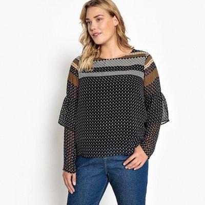 Bedruckte Bluse mit rundem Ausschnitt und langen Ärmeln Bedruckte Bluse mit rundem Ausschnitt und langen Ärmeln CASTALUNA