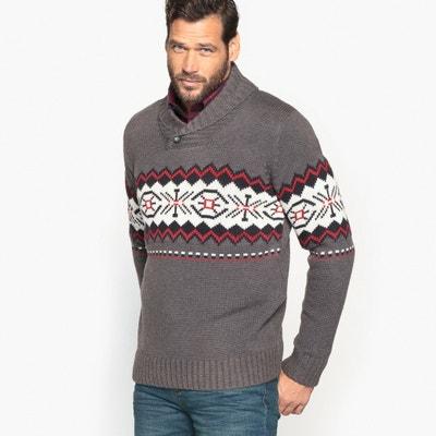 Pull con collo a scialle in maglia grossa con motivo jacquard Pull con collo a scialle in maglia grossa con motivo jacquard CASTALUNA FOR MEN