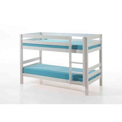 lit superpos blanc laqu terre de nuit - Lit Mezzanine Blanc 1 Personne