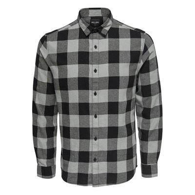Camisa recta a cuadros, de manga larga Camisa recta a cuadros, de manga larga ONLY & SONS