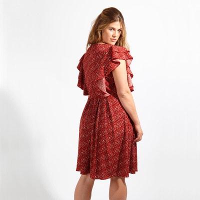 Printed Dress with Ruffled Sleeves Printed Dress with Ruffled Sleeves LOVEDROBE