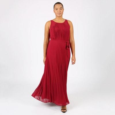 Pleated Maxi Dress with Tie Waist LOVEDROBE