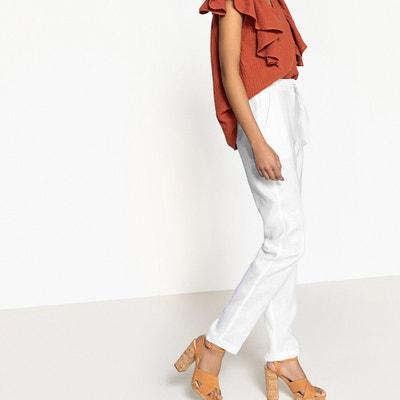 Proste spodnie z wysokim stanem z czystego lnu La Redoute Collections