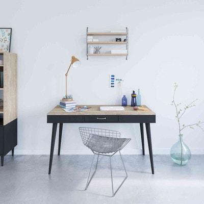 Bureau en bois noir avec tiroir central - BU6006 TERRE DE NUIT