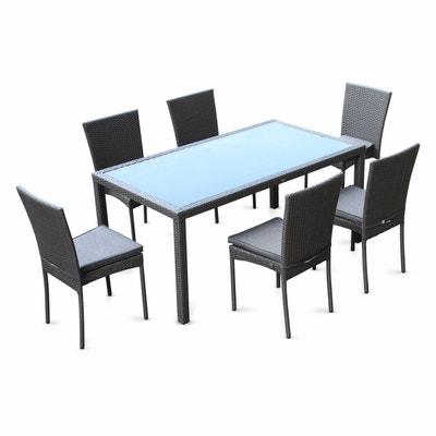 salon de jardin en rsine tresse 6 chaises gris table dextrieur design - Table Et Chaise Exterieur