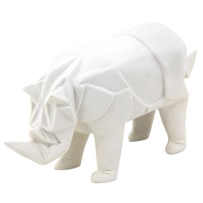 Rhinocéros déco en résine blanche Rhinocéros déco en résine blanche AUBRY GASPARD