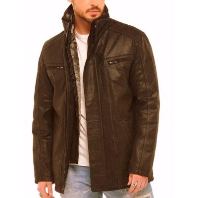 Veste cuir marron homme en solde   La Redoute 8d7ad4a2426d