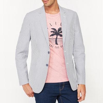 Striped Slim Fit Suit Jacket Striped Slim Fit Suit Jacket La Redoute Collections