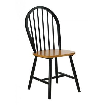 Chaise Barreaux En Bois Noir Mat Et Placage Chne