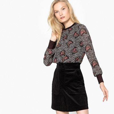 Langärmelige Bluse mit rundem Ausschnitt und grafischem Muster Langärmelige Bluse mit rundem Ausschnitt und grafischem Muster SEE U SOON