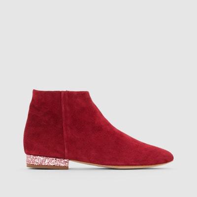 Boots in fluweelleer, hak met pailletten, Annie Boots in fluweelleer, hak met pailletten, Annie MELLOW YELLOW
